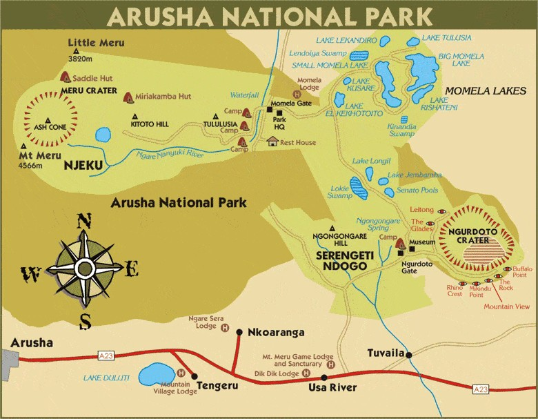mappa parco di Arusha