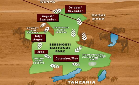 mappa Parco Nazionale del Serengeti