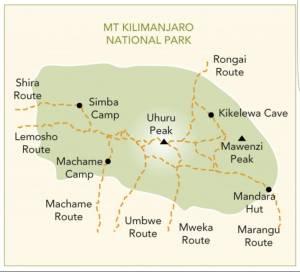mappa kilimangiaro