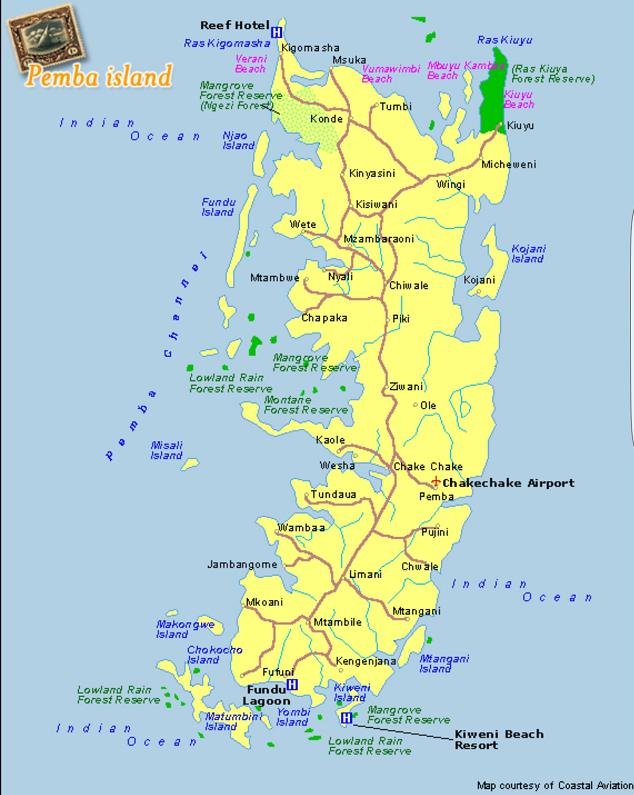 mappa dell'Isola di Pemba