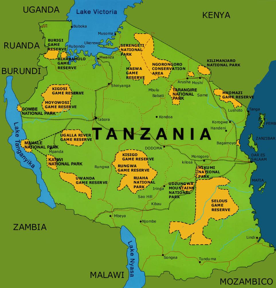 La mappa dei parchi della Tanzania