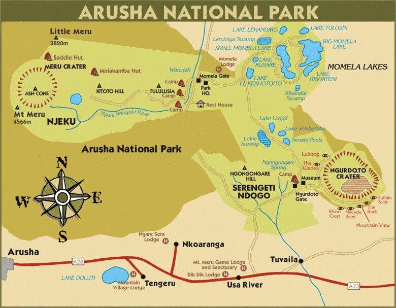 Carte Arusha Parc