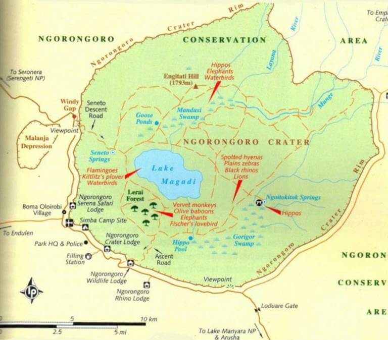Carte Zone de conservation de Ngorongoro