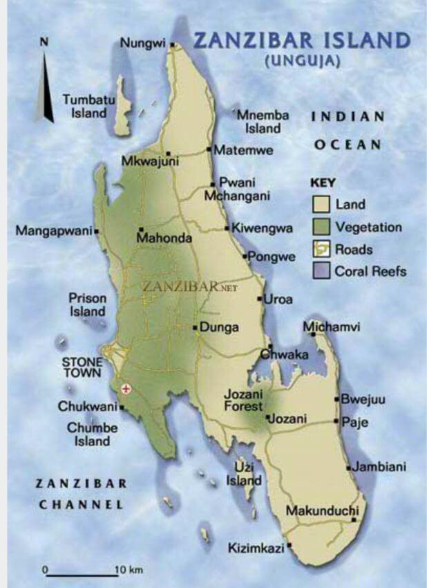 Carte de l'archipel de Zanzibar