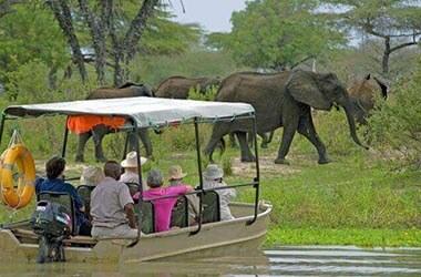 boat safari in the Selous